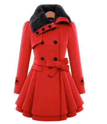 Актуално дамско палто с много топла вълна по яката, 4 цвята