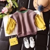 Сладка детска блуза за момичета с цветни широки ръкави, подходящ за ежедневие