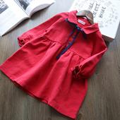 Есенна детска рокля за момичета с дълъг ръкав в широк модел