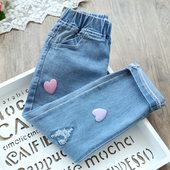 Модерни дънки за момичета с ластична талия тип Слим с апликация