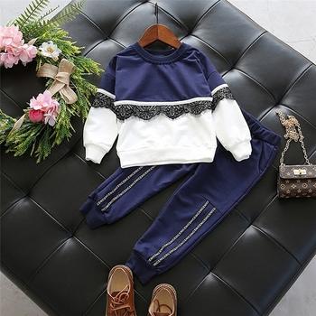 Спортно-елегантен детски комплект за момичета - блуза с дантела + панталон, в два цвяат