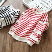 Спортно-елегантна детска блуза на райе с воали на ръкавите