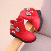 Сладки детски сандали за момичета с груба подметка и декорация панделка с пух и мъниста