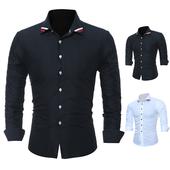 Изчистена мъжка риза за пролетта и есента в светъл и тъмен цвят
