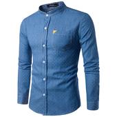 Дънкова риза с малки дупки и попска яка в светъл и тъмен вариант