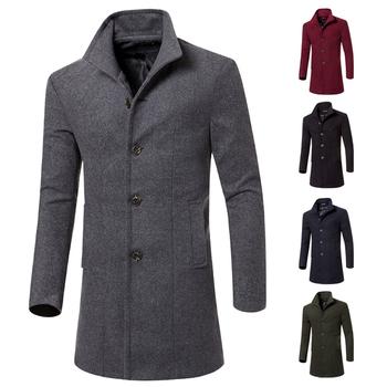 Κομψό μακρύ ανδρικό παλτό σε διάφορα χρώματα σε απλό σχεδιασμό