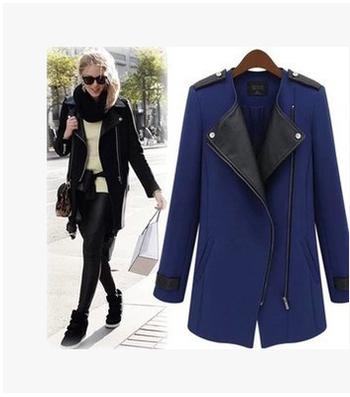 Κομψό γυναικείο παλτό με δερμάτινο μοτίβο και σε  δύο χρώματα