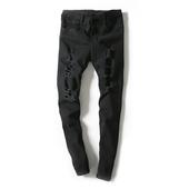 Мъжки стилни дънки - накъсани, тип Слим в черен и бял цвят