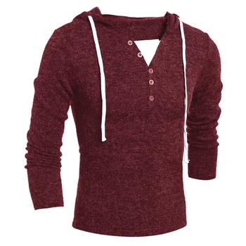 Вълнен мъжки пуловер с V-образно деколте и качулка
