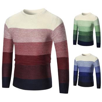 Есенно-зимен плетен пуловер на райе в три цвята