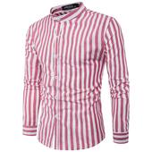 Стилна мъжка риза на райе с попска яка