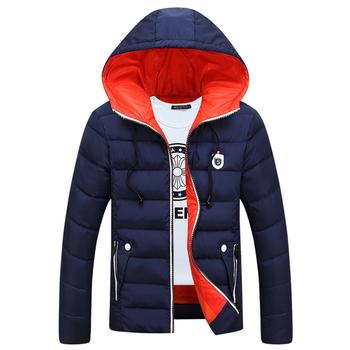 Топло зимно яке за мъжете в три цвята с качулка