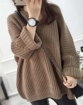 Дълъг и широк дамски пуловер с хлабава яка , 3 цвята