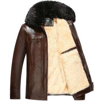 Χοντρό χειμωνιάτικο ανδρικό μπουφάν από οικολογικό δέρμα με χνουδοτό κολάρο 3ca5281003f