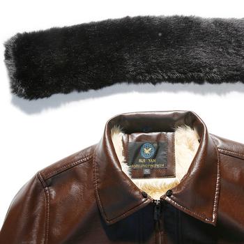 Дебело зимно яке за мъжете от еко кожа с пухена яка