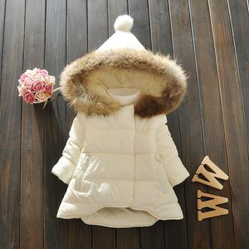 Детско зимно яке за момичета с качулка и пух и асиметрична дължина