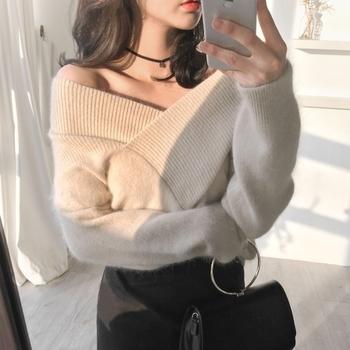 Много стилен дамски вълнен и топъл пуловер с V-образно деколте