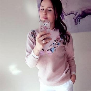 Ежедневен дамски поуловер с О-образна яка и флорални шарени мотиви