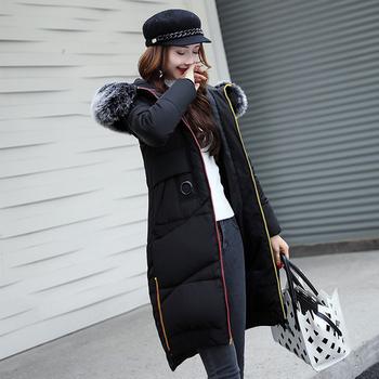 Стилно дълго дамско яке с качулка с пух