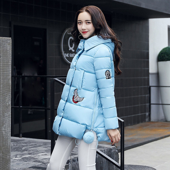 Зимно дамско яке с апликации и качулка