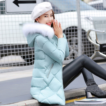 Стилно дълго дамско яке в няколко цвята с качулка и еко пух