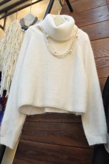 Елегантен плетен дамски пуловер с поло яка, в бял цвят