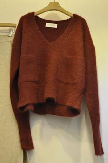 Дамски ежедневен пуловер с джобове и V-образно деколте