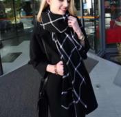 Топъл дамски раиран шал