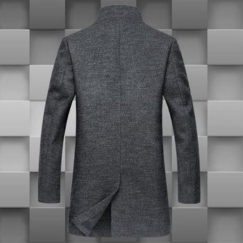 Επιχειρησιακό ανδρικό παλτό μακρύ με κουμπιά και ημήψηλο γιακά σε σχήμα O edfa536ecaf