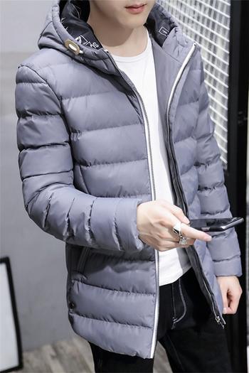 Μακρύ χειμωνιάτικο ανδρικό μπουφάν με κουκούλα σε πέντε χρώματα