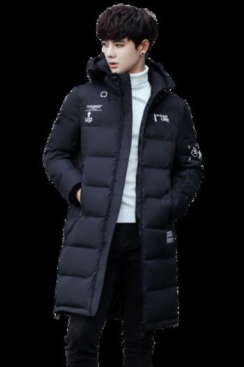 Μακρύ χειμωνιάτικο ανδρικό μπουφάν με έγχρωμη επιγραφή και με κουκούλα 0f28f496b31