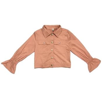 Стилно тънко дамско яке с апликация на гърба, подходящо за есента