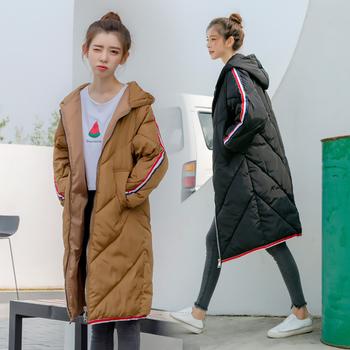 Μακρύ γυναικείο μπουφάν με κουκούλα σε τρία χρώματα