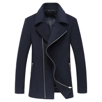 Πολύ ζεστό και άνετο καθημερινό ανδρικό παλτό με ασύμμετρα φερμουάρ
