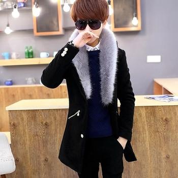 Μοντέρνο ανδρικό παλτό με μια ενδιαφέρουσα μαλακή γούνα 3 χρώματα