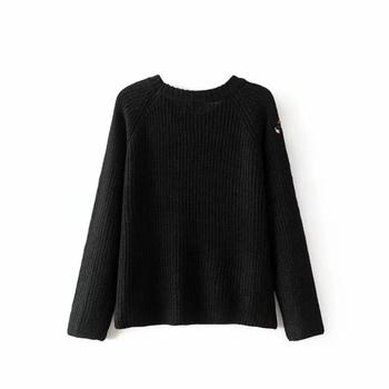 Красив плетен дамски пуловер в черен цвят с бродерия