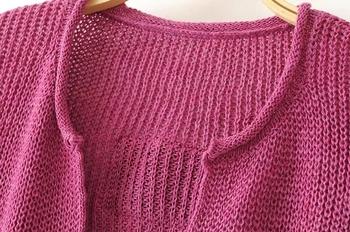 Дамски плетен къс пулове с дълбоко V-образно деколте