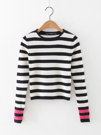 Ежедневен дамски пуловер тип Слим на райе