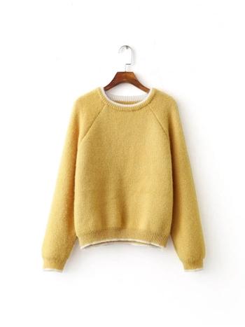 Свеж дамски пуловер в розов и жълт цвят, подходящ за зимата