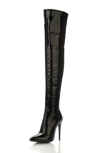 Страхотни дамски лачени дълги ботуши с висок тънък ток