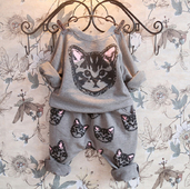 Детски комплект за момичета - блуза + панталон с изображения