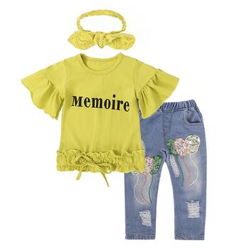 Стилен детски комплект за момичета - тениска + дънки