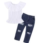 Красив детски комплект за момичета - накъсани дънки + блуза