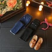 Стилни детски дънки за момичета в син и черен цвят