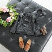 Есенно детско яке за момчета от еко кожа в черен цвят