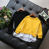 Спортна детска блуза за момчета и момичета в черен и жълт цвят