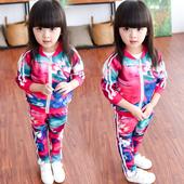 Стилен цветен детски анцуг за момичета - суичър с панталон