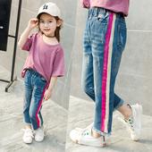 Сладки детски дънки за момичета с цветни ленти