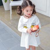 Есенна детска рокля за момичета в бял цвят с апликация