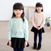 Нежен детски пуловер за момичета в син и розов цвят